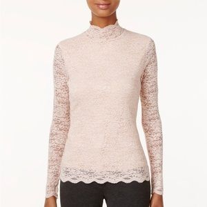 Vince Camuto Lace High Neck Top (Pink)